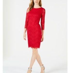 Calvin Klein 3/4 Sleeve Lace Sheath Dress
